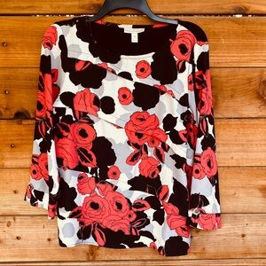 Dana Buchman rose design 3/4 sleeve blouse